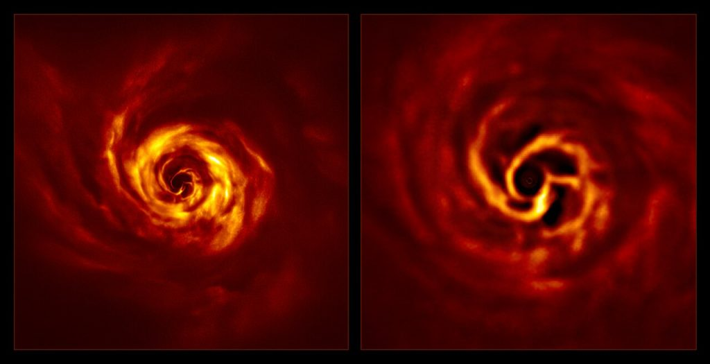 """SPHERE images of the AB Aurigae system (side by side)."" – https://www.eso.org/public/news/eso2008/"